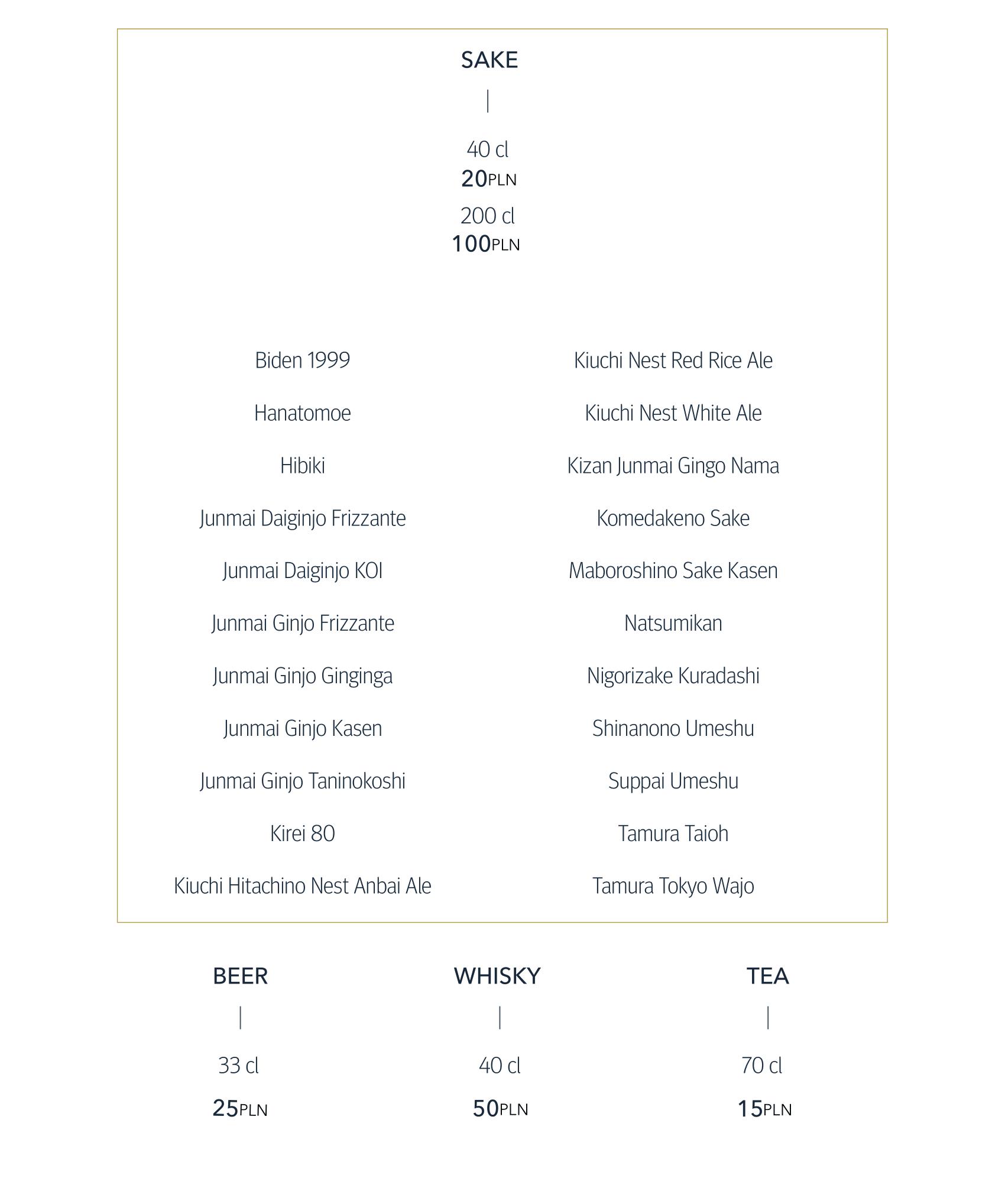 Noriko Sushi sake menu